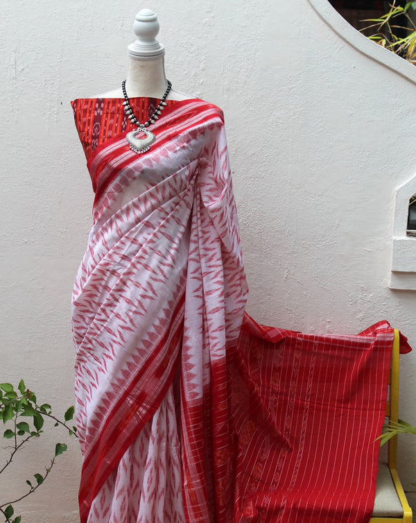 White Odisha Ikkat Cotton Handloom Saree with Ikkat Blouse Piece