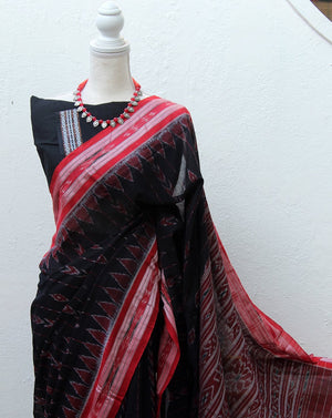Black Odisha Ikkat Cotton Handloom Saree with Plain Blouse Piece
