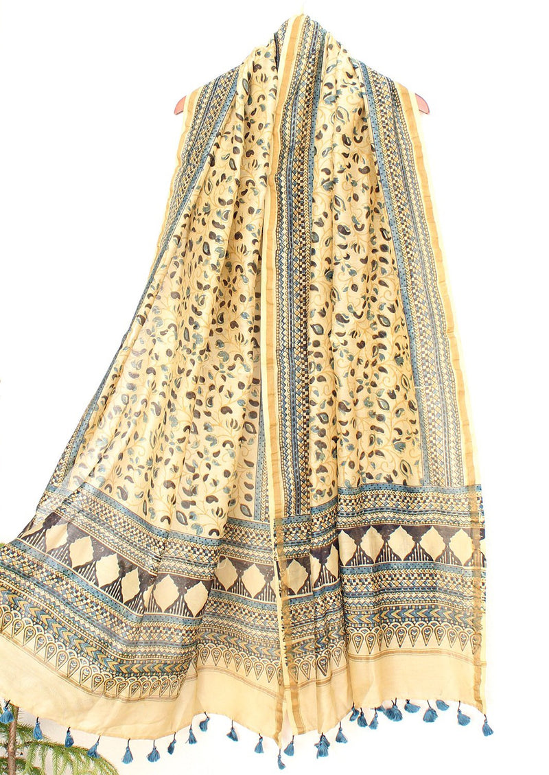 Off-White Chanderi Cotton Silk Hand Block Printed Ajrakh Dupatta