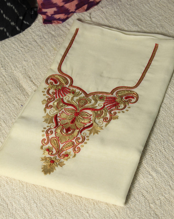Off-White Hand Embroidered Chanderi Handloom Cotton Silk Fabric for Kurti
