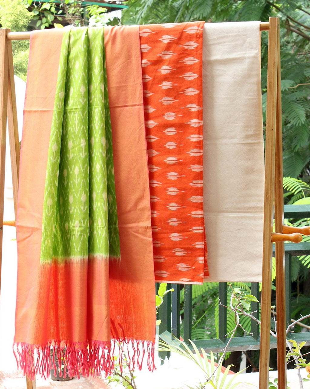 Orange and Green Ikkat Handloom Cotton Dress Material
