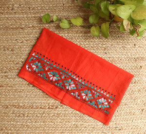 Orange Kantha Hand Embroidered Cotton Blouse Piece