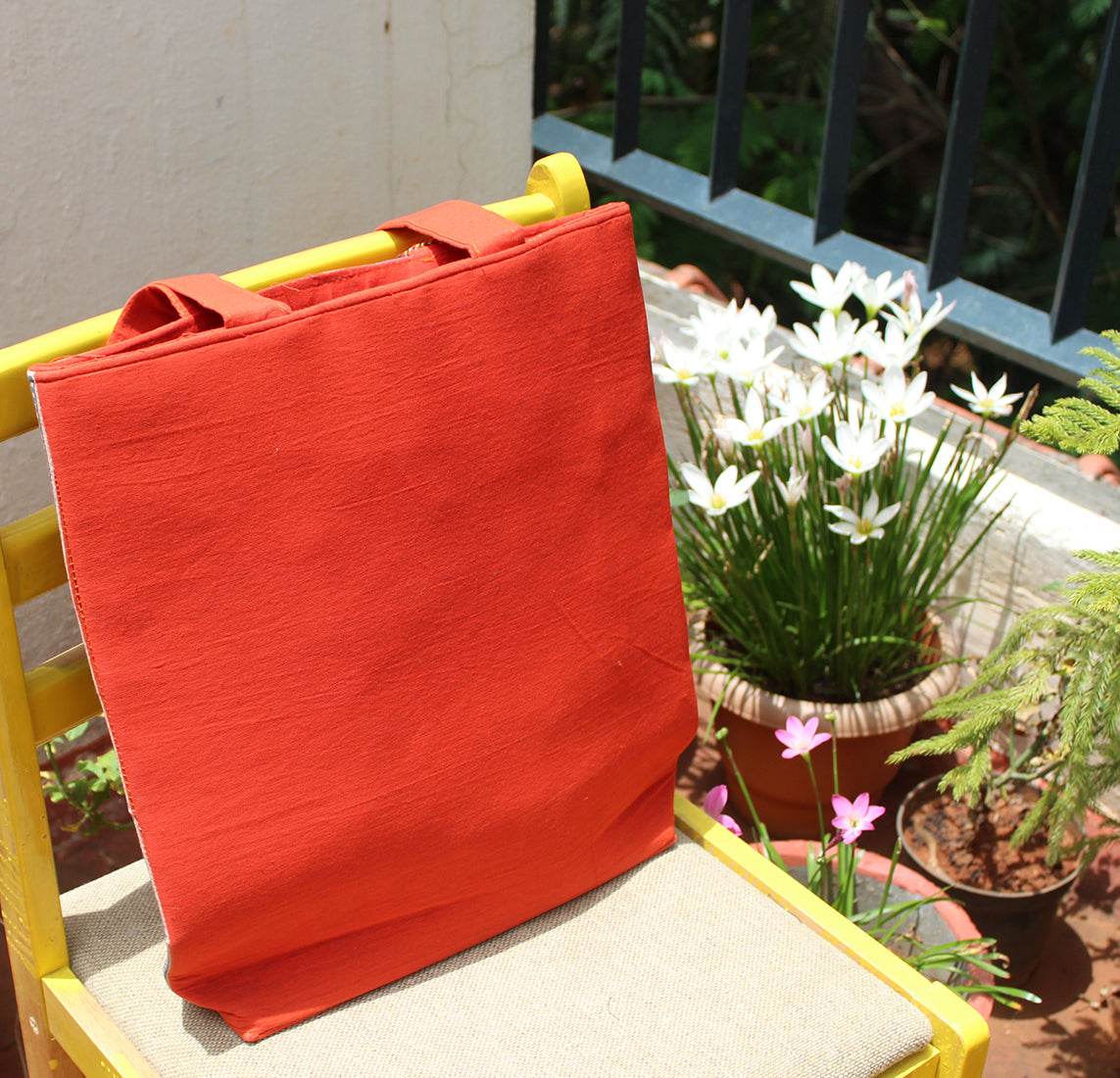Orange Ajrakh Hand Block Printed Tote Bag