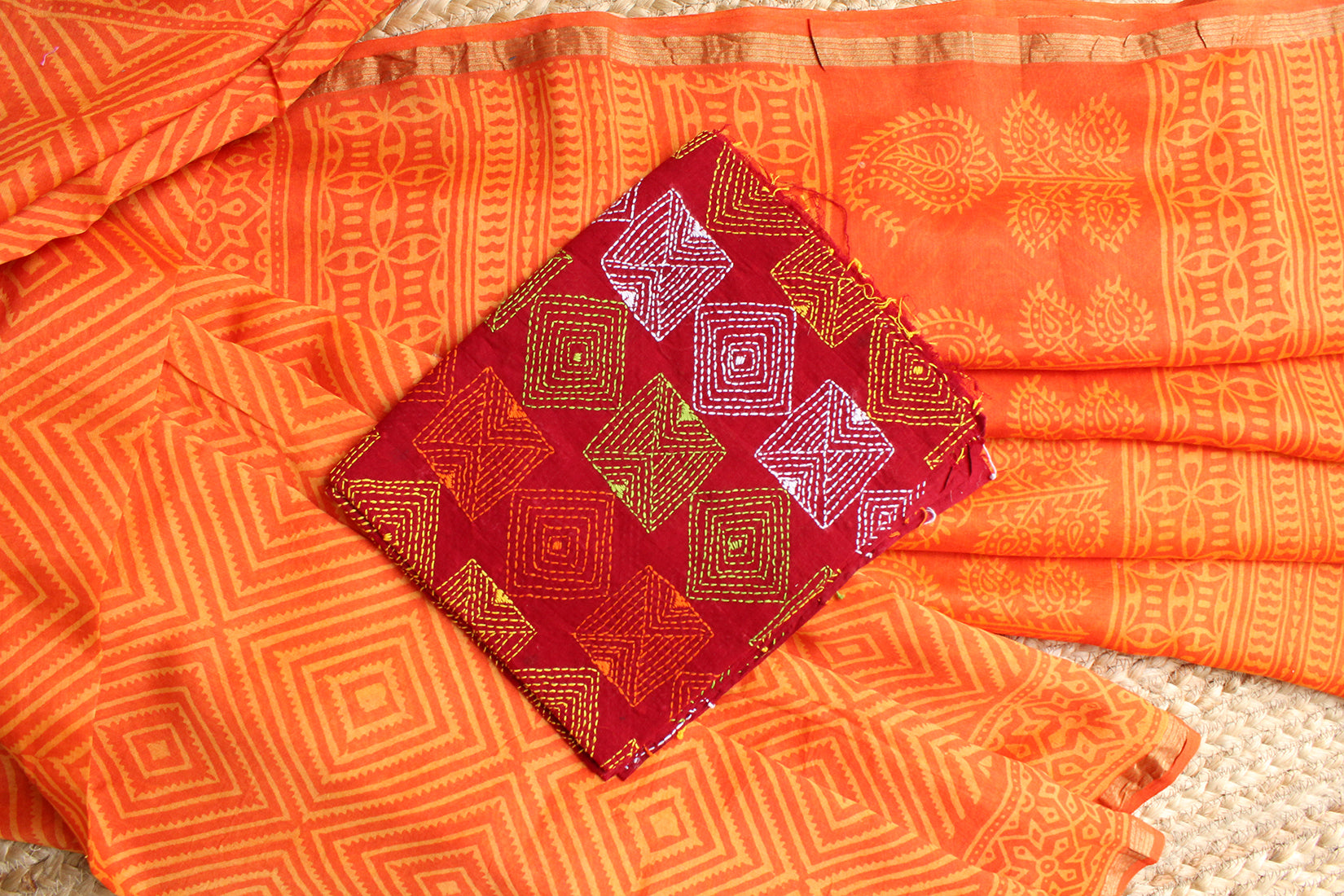 Orange Naturally Dyed Hand Block Printed Chanderi Cotton Silk Saree with Green Hand Embroidered Cotton Blouse Piece