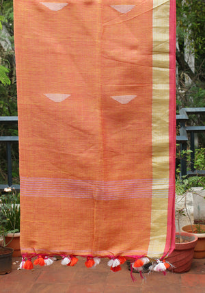 Yellow and Pink Dual Toned Handloom Linen Jamdani Dupatta with Zari Border