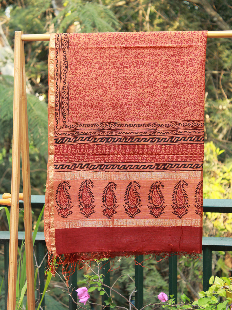 Maroon and Orange Bagh Hand Block Printed Maheshwari Dress Material