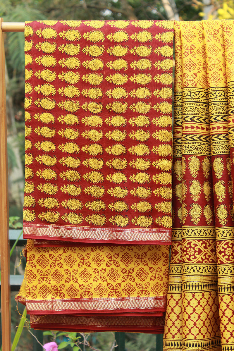 Yellow Bagh Hand Block Printed Maheshwari Dress Material