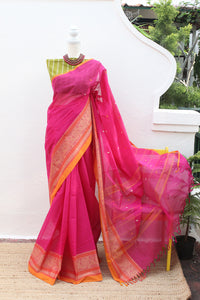 Pink Toned Chettinad Cotton Saree With Green South Cotton Jacquard Blouse Piece