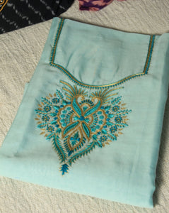 Pastel Blue Hand Embroidered Chanderi Handloom Cotton Silk Fabric for Kurti