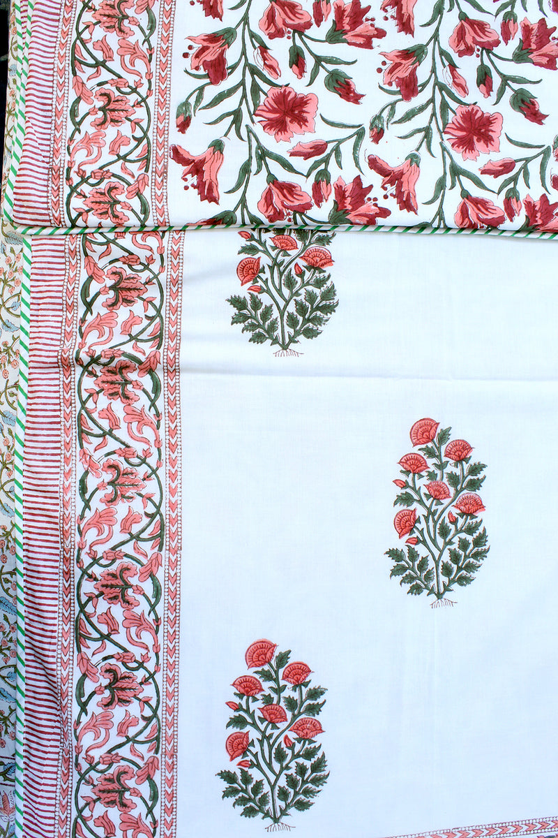 White and Pink Hand Block Printed Mul Mul Cotton Reversible Single Dohar
