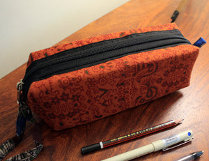 Orange Hand Block Printed Cotton Pen Pouch