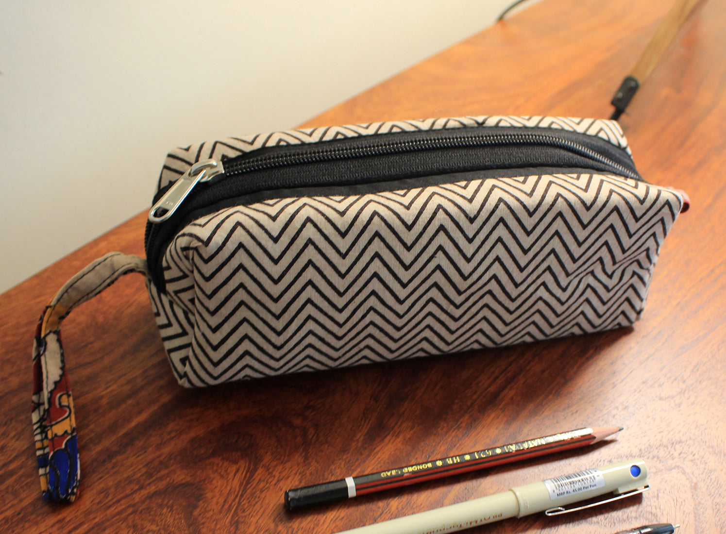 Black and White Hand Block Printed Cotton Pen Pouch