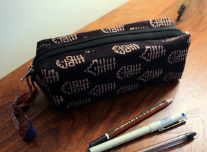 Black Hand Block Printed Cotton Pen Pouch