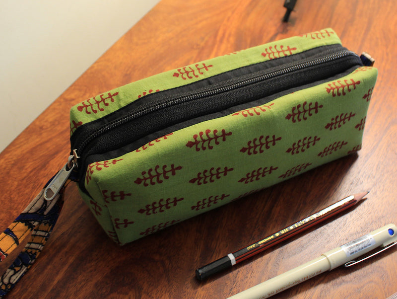 Green Hand Block Printed Cotton Pen Pouch
