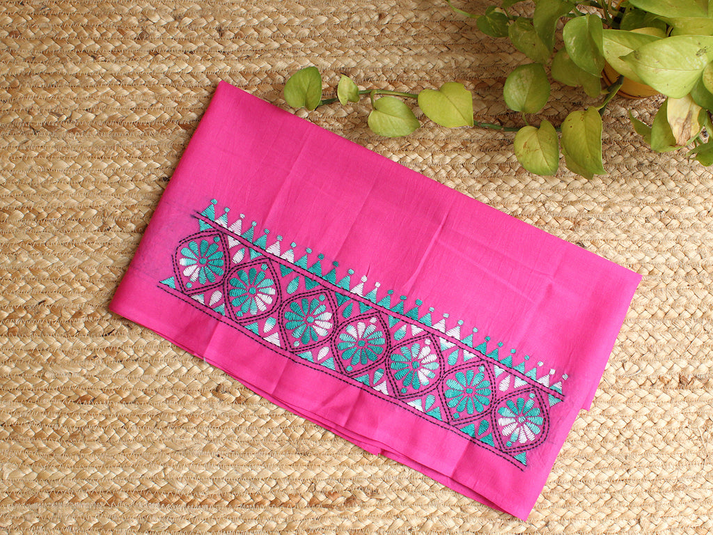 Pink Kantha Hand Embroidered Cotton Blouse Piece