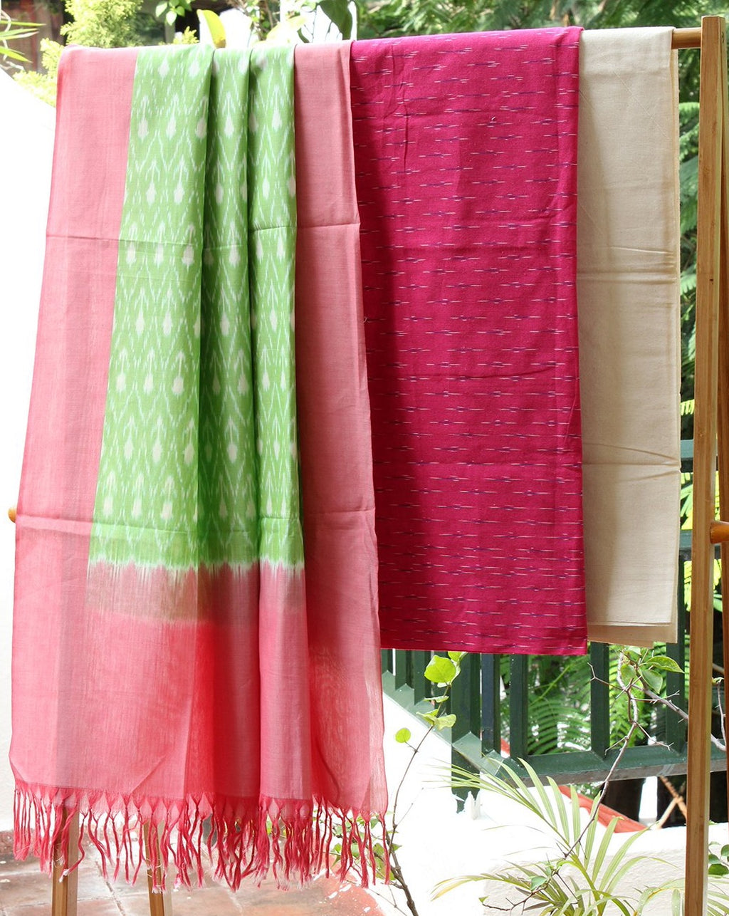 Pink and Green Ikkat Handloom Cotton Dress Material