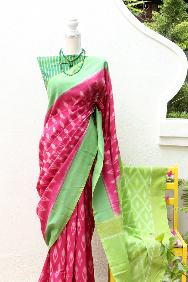 Pink Pochampally Ikkat Handloom Saree with Green Ikkat Blouse Piece