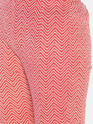Pink Naturally Dyed Cotton Chevron Hand Block Printed Cropped Cigarette Pants