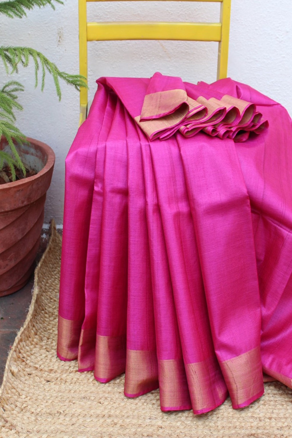 Pink Kosa Silk Handloom Saree with Blue Ikkat Raw Silk Blouse Piece