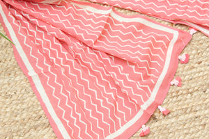 Pink Naturally Dyed Hand Block Printed Chevron Mul Cotton Stole