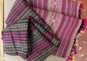 Pink and Black  Bhujodi Handloom Tussar Silk and Wool Stole