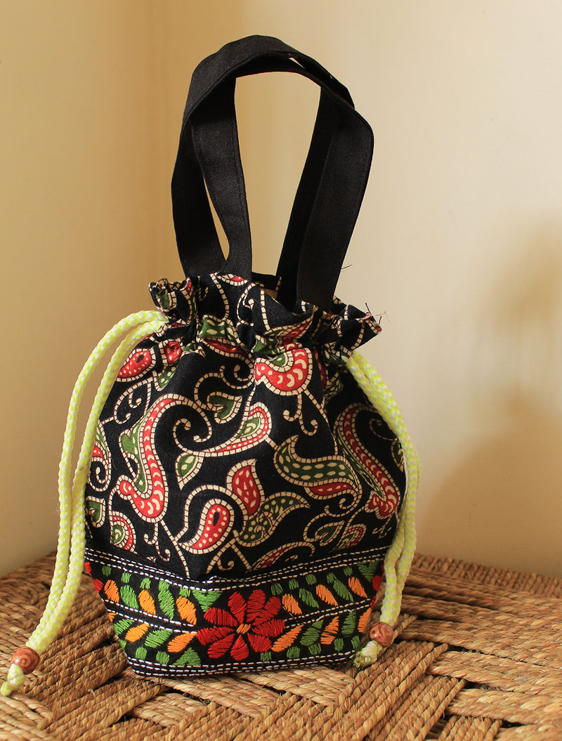 Copy of Multi-Coloured Cotton Potli Bag with Kantha Hand Embroidery