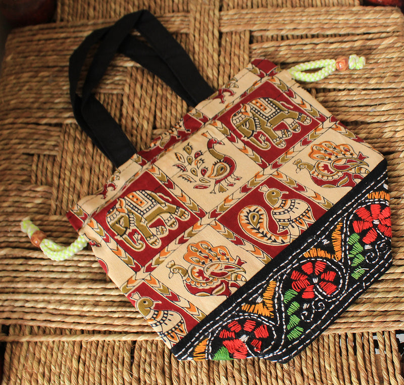 Multi-Coloured Cotton Potli Bag with Kantha Hand Embroidery