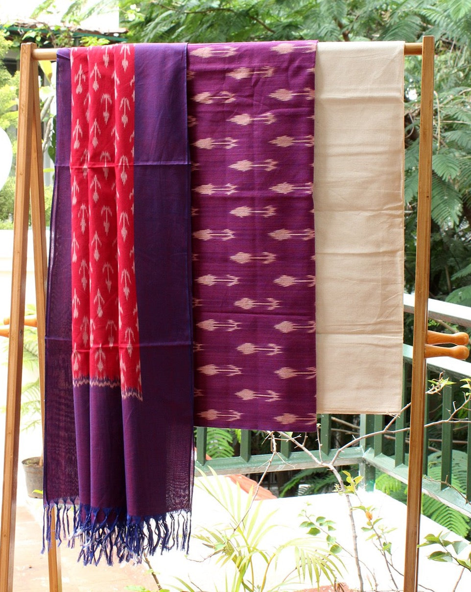 Purple and Red Ikkat Handloom Cotton Dress Material