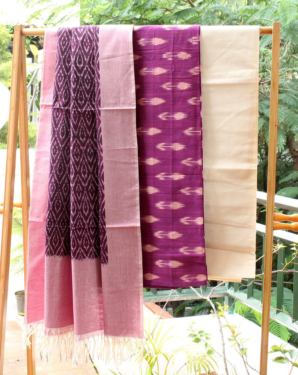 Purple and Pink Ikkat Handloom Cotton Dress Material