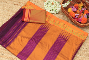 Purple Handloom Silk Cotton Ilkal Saree with Golden Handloom Khun Blouse Piece