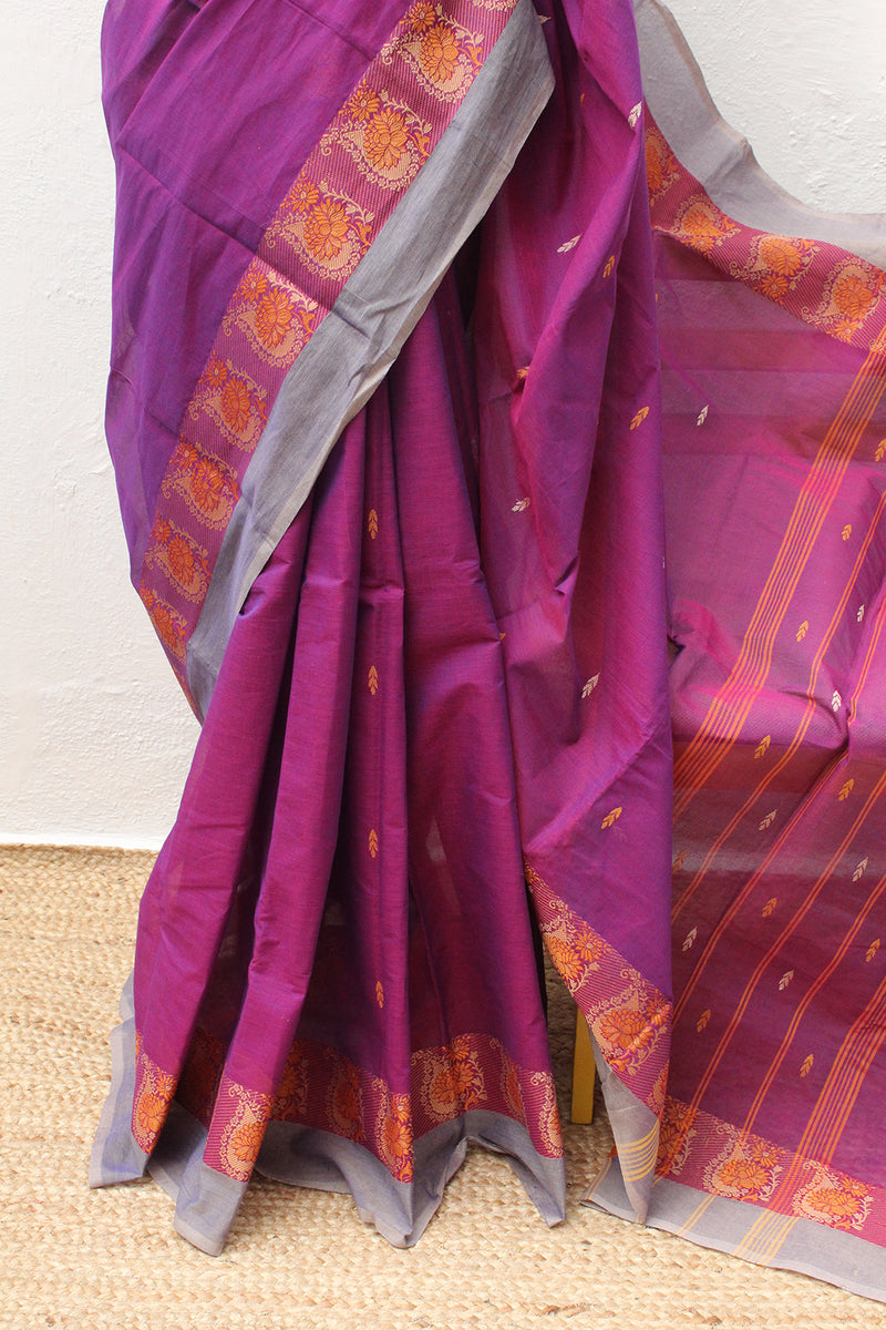 Purple and Red Dual Toned Chettinad Cotton Saree With Orange South Cotton Jacquard Blouse Piece