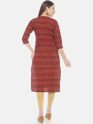 Red Ajrakh Hand Block Printed Naturally Dyed Pure Cotton Kurti