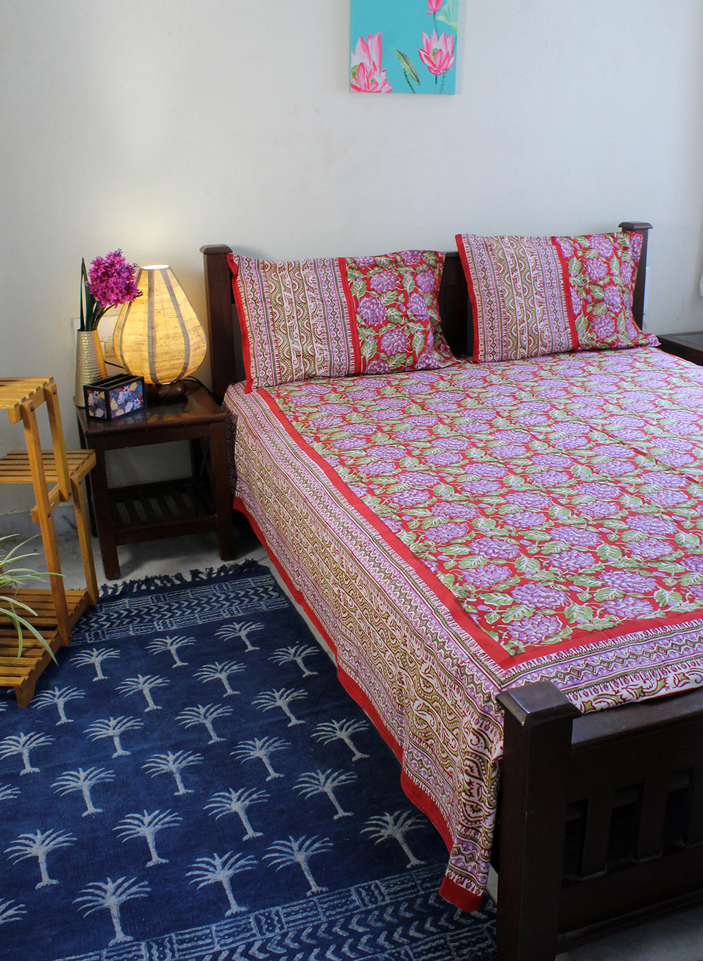 Red Hand Block Printed Pure Cotton King Size Bedsheet with Pillow Covers