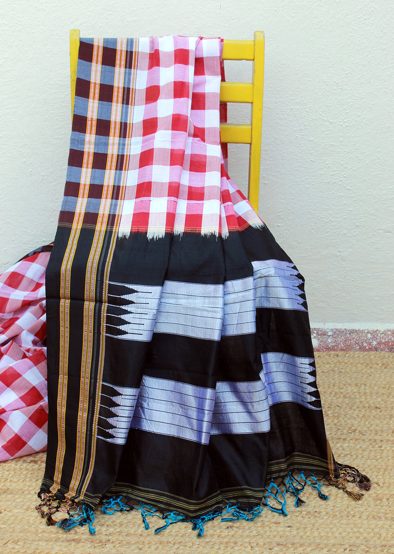 Red and White Checks Ilkal Handloom Cotton and Silk Saree