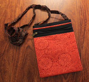 Red Hand Block Printed Cotton Sling Bag