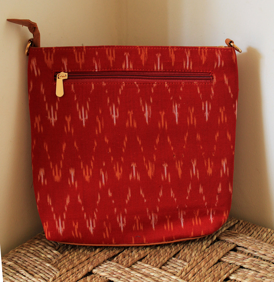 Red Ikkat Cotton Sling Bag