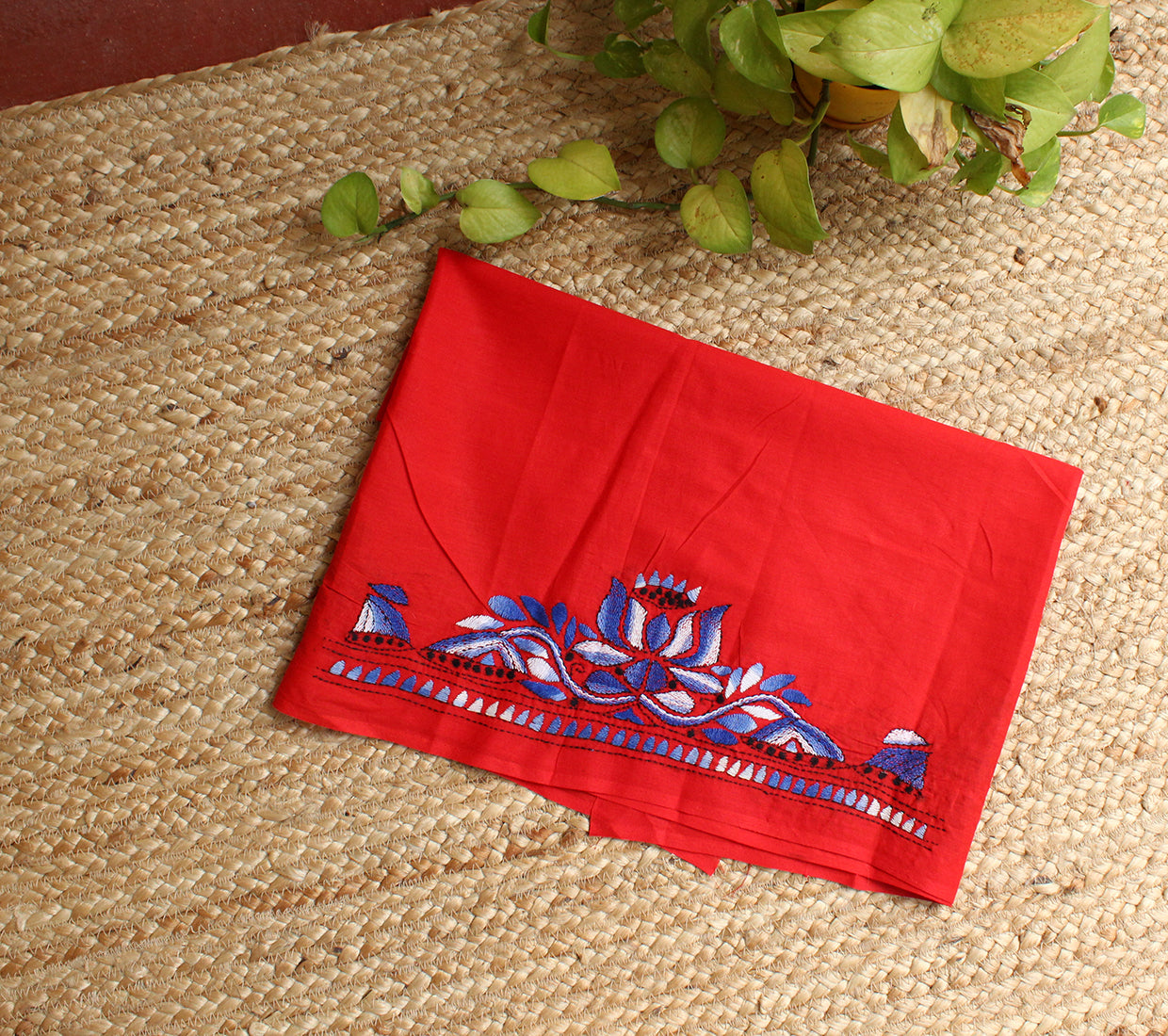 Red Kantha Hand Embroidered Cotton Blouse Piece