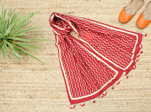 Red  Naturally Dyed Hand Block Printed Chevron Mul Cotton Stole