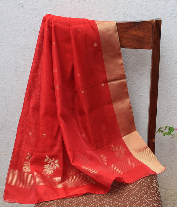 Red Chanderi Handloom Cotton Silk Dupatta with Golden Butti and Motifs
