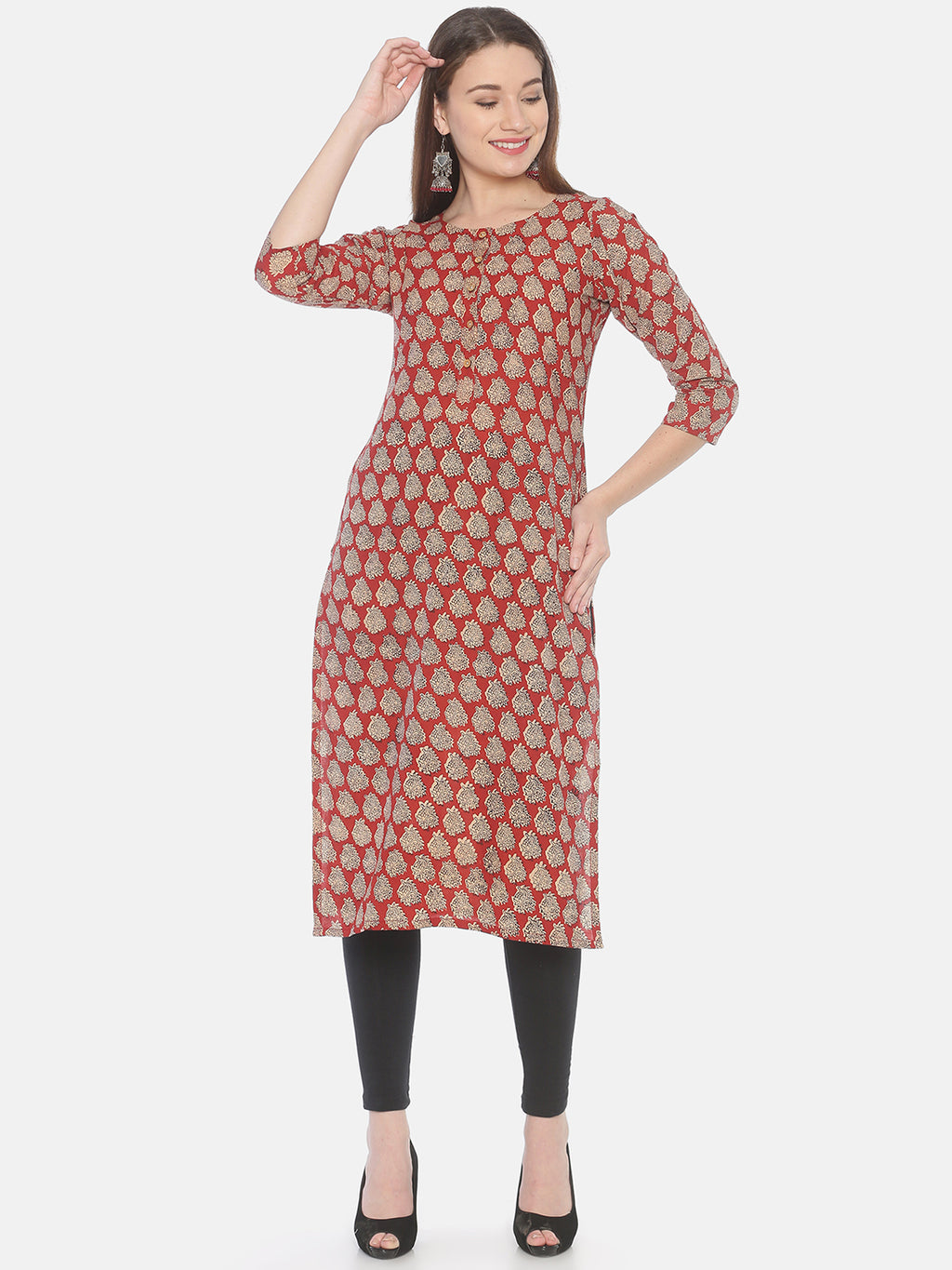 Red Bagru Hand Block Printed Naturally Dyed Pure Cotton Kurti