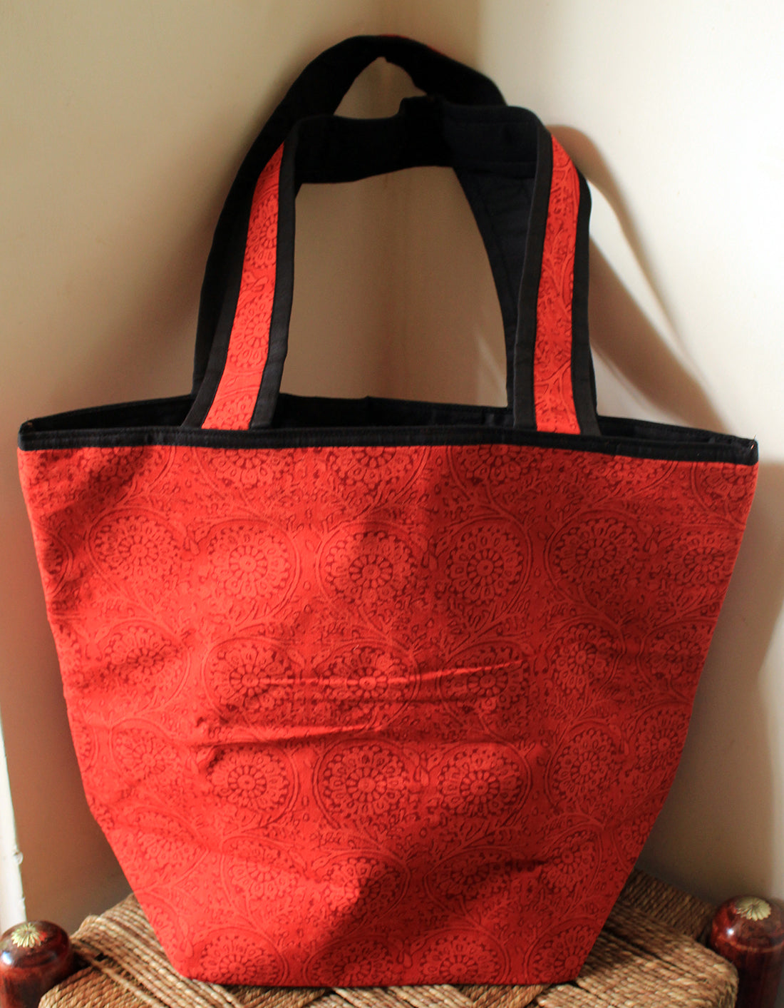 Red Bagru Dabu Hand Block Printed Cotton Bucket Tote Bag