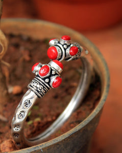 Antique Finish German Silver Adjustable Kada with Red Stones