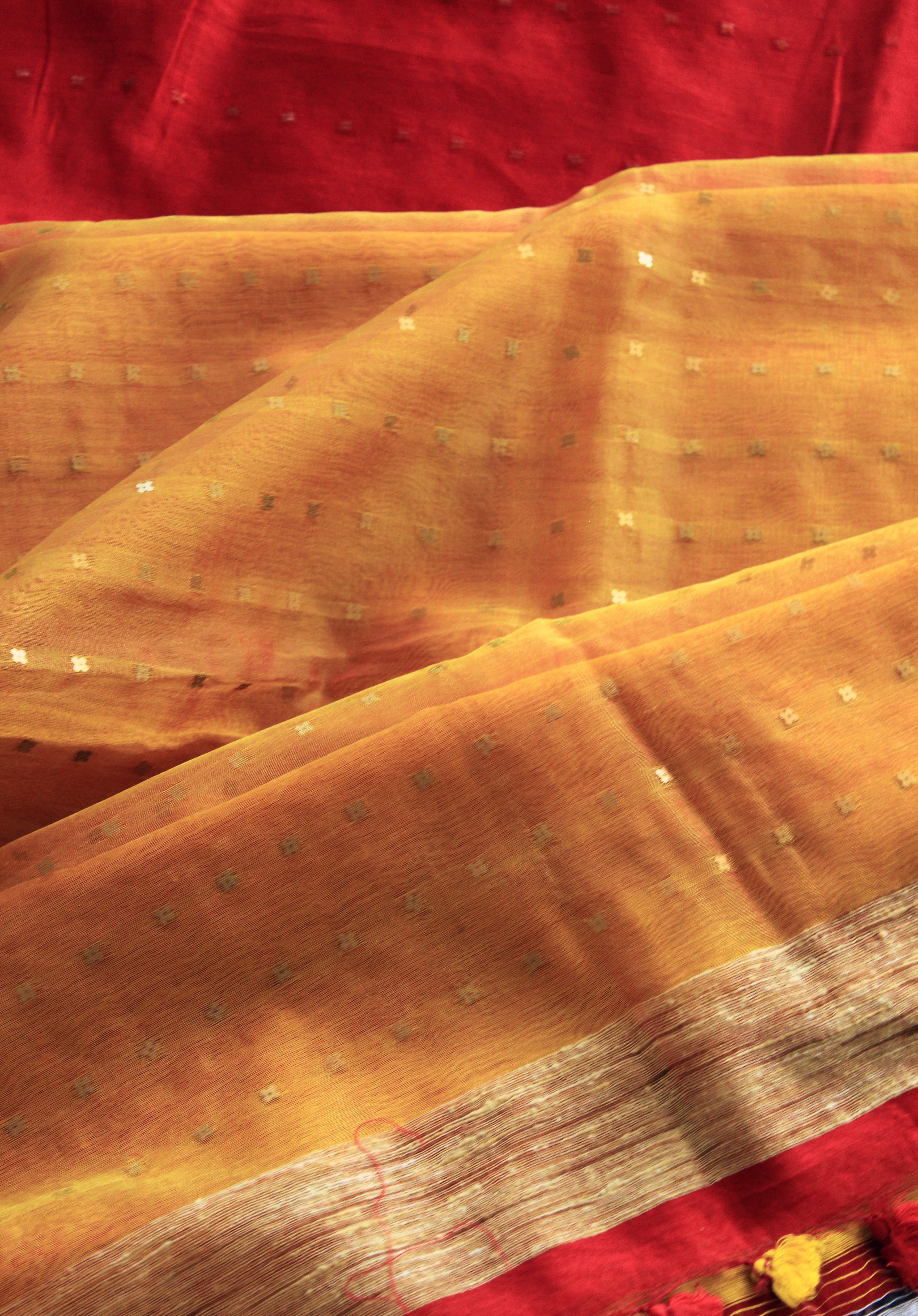 Red and Yellow Bengal Cotton Silk Handloom Saree with Woven Sequins and Sheer Palla