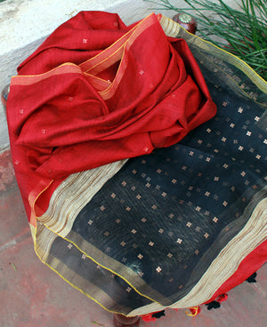 Red and Black Handloom Cotton Silk Dupatta with Woven Sequins
