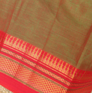 Red and Green Dual Toned Narayanpet Mercerised Cotton Saree with Zari Border