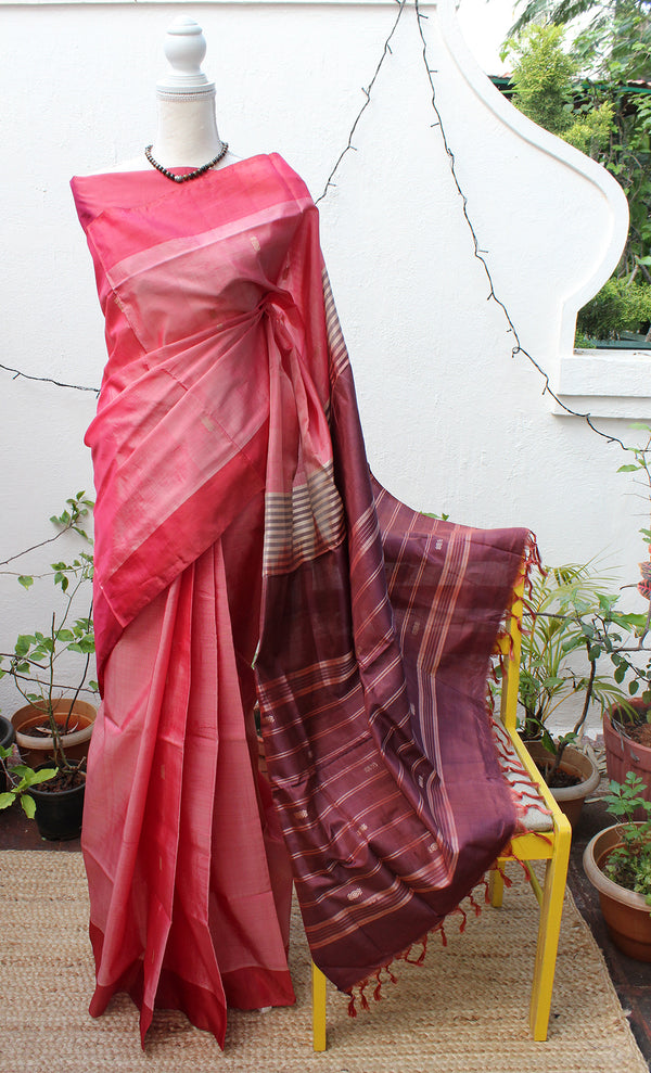 Red and Purple Chinnalapattu Handloom Silk Saree with Maroon Pure Silk Blouse Piece