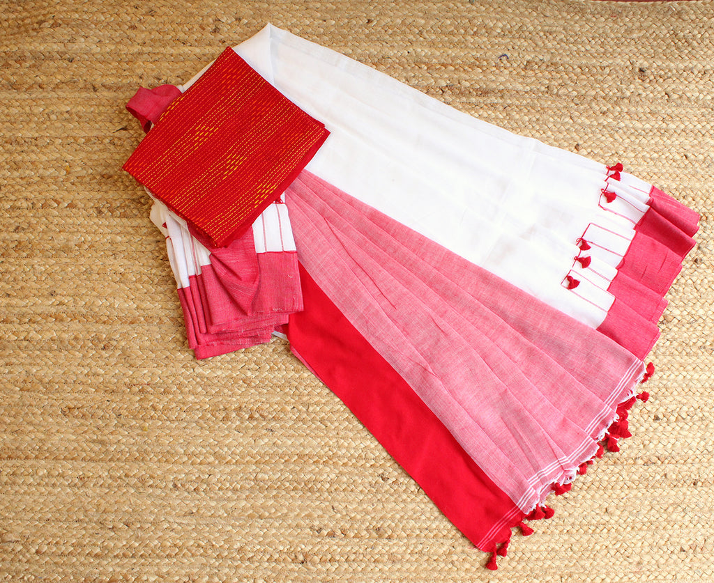 White and Red Bengal Handloom Cotton Saree with Pom Pom
