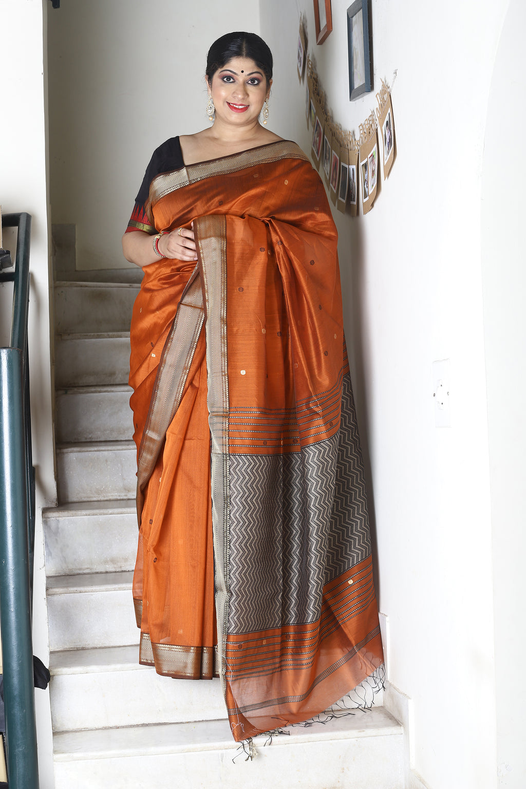 Rust Maheshwari Handloom Cotton Silk Saree with Resham Woven Palla and Black Butti