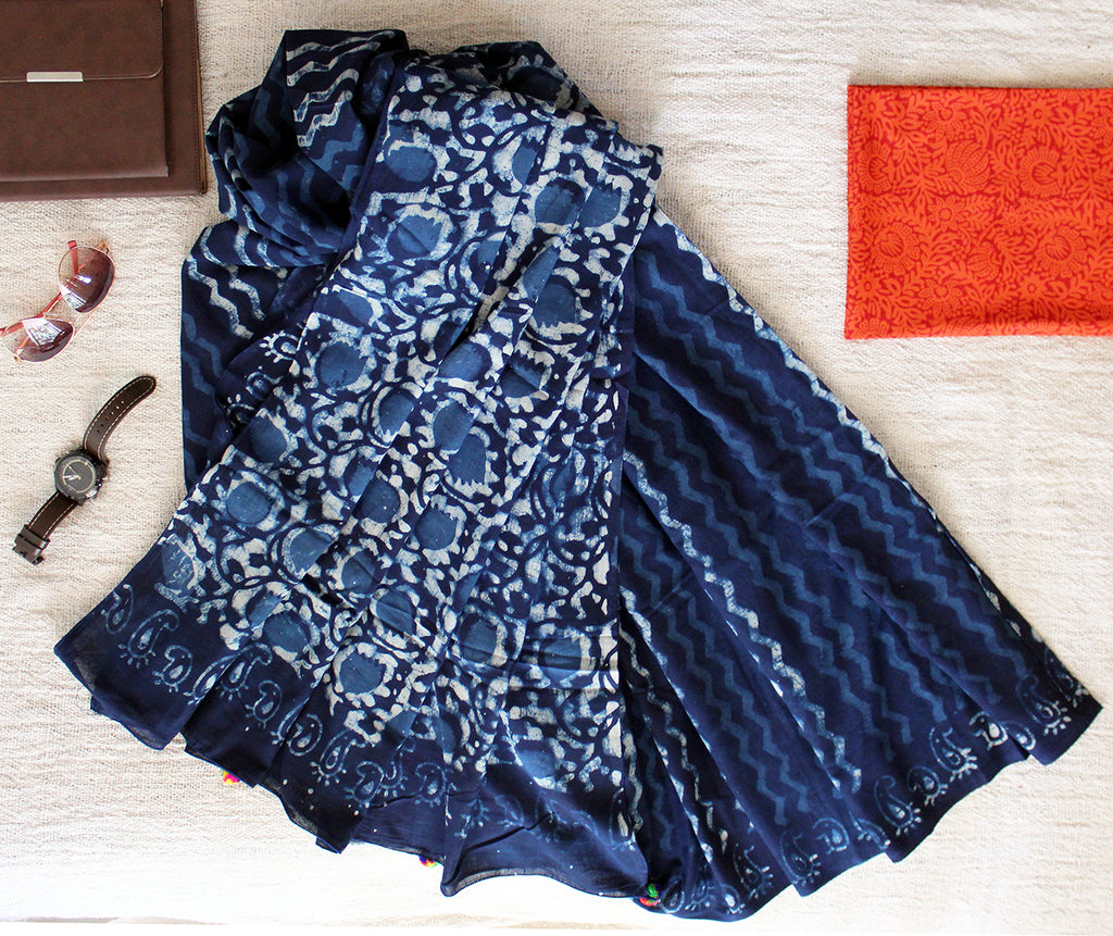 Indigo Hand Block Printed Mul Cotton Saree with Orange Hand Block Printed Cotton Blouse Piece