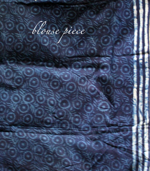 Indigo Hand Block Printed Mul Cotton Saree with Red Jacquard Cotton Blouse Piece